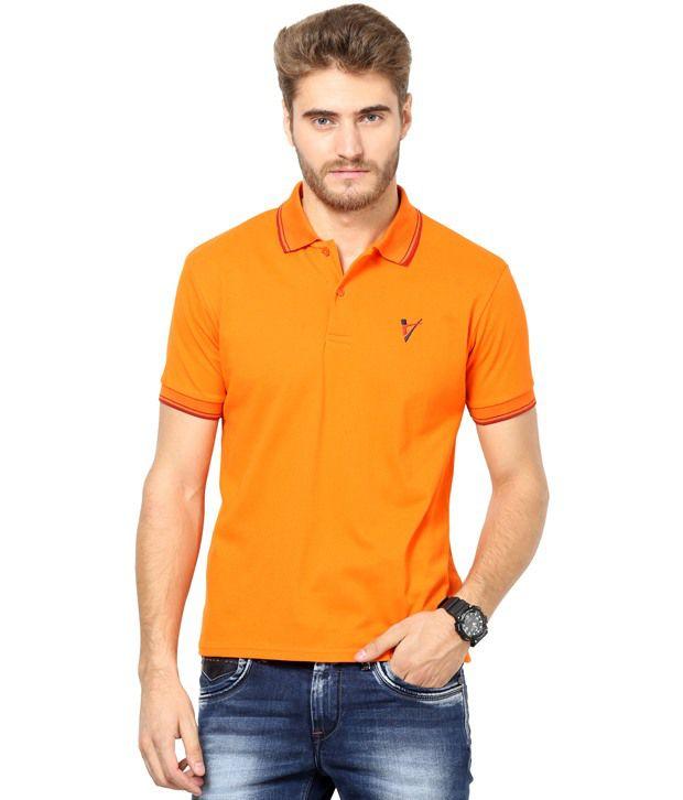 THE VANCA Orange Half Polo T-Shirt
