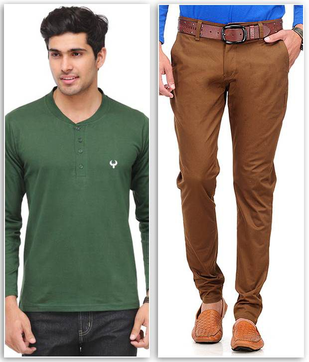 Phoenix Combo Of 1 Olive Henley T Shirt And 1 Brown Slim Fit Chinos
