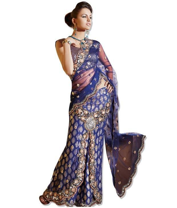 Fabdeal Blue Net Saree