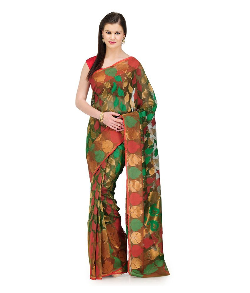 Fabroop Multicoloured Chiffon Saree