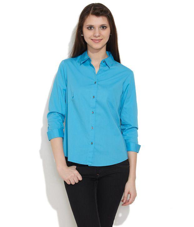 Numero Uno Blue Solids Cotton Full Regular Collar Shirts