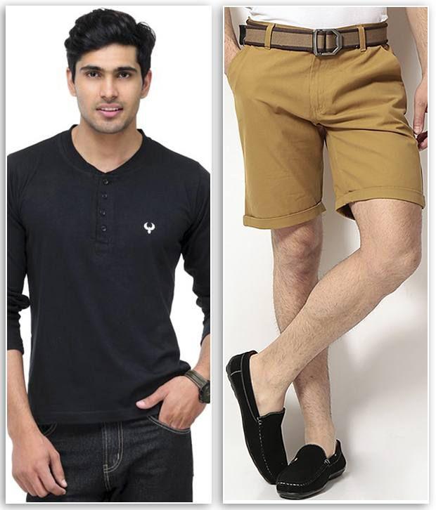 Phoenix Combo Of 1 Black Henley T Shirt & 1 Khaki Cotton Solid Shorts