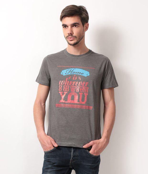 D-Green Gray Half Cotton Round  T-Shirt