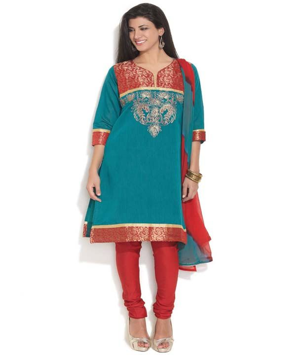 Anahi Green Cotton Stitched Suit With Dupatta