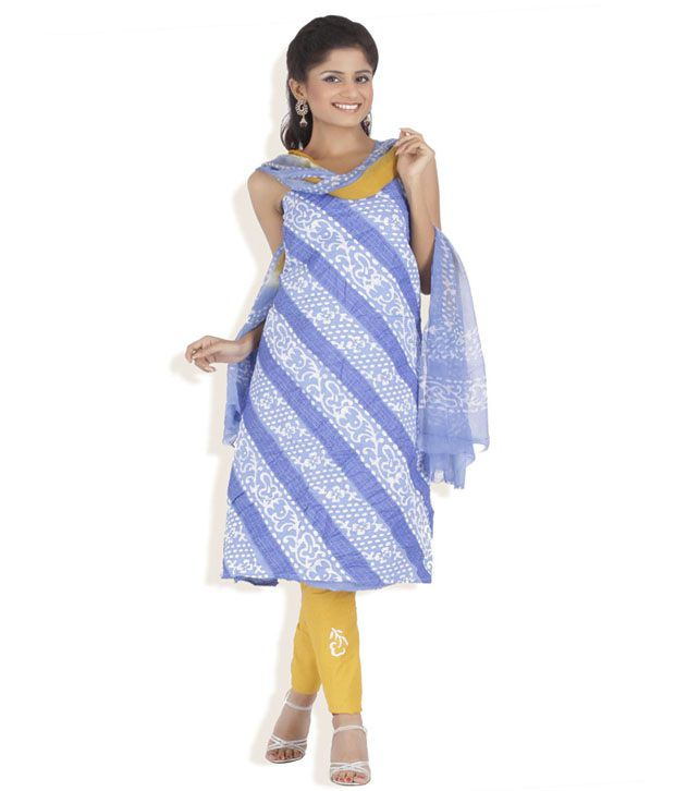 Chhabra555 Blue Cotton Unstitched Suit With Dupatta