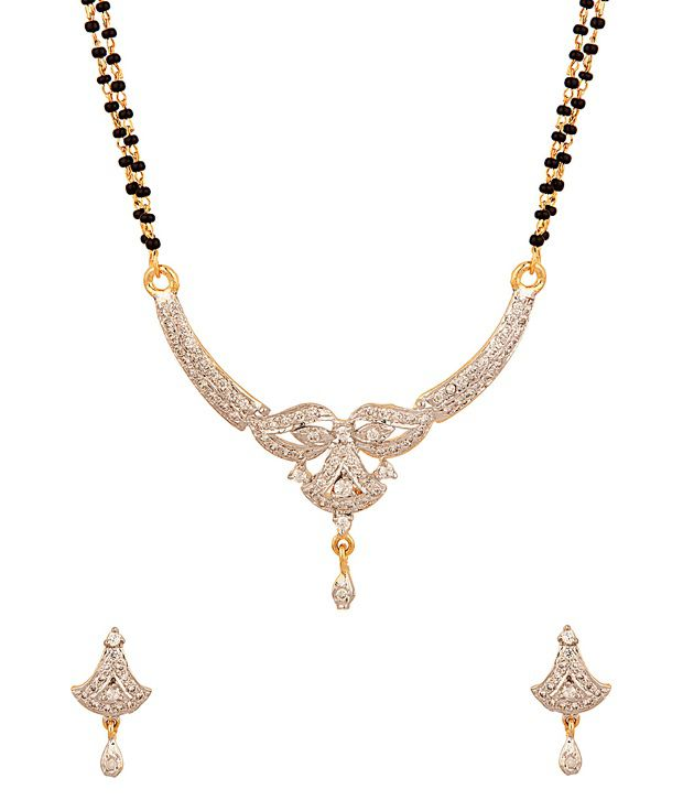 Voylla Double Chain Mangalsutra Set with Classy Mask Inspired Design