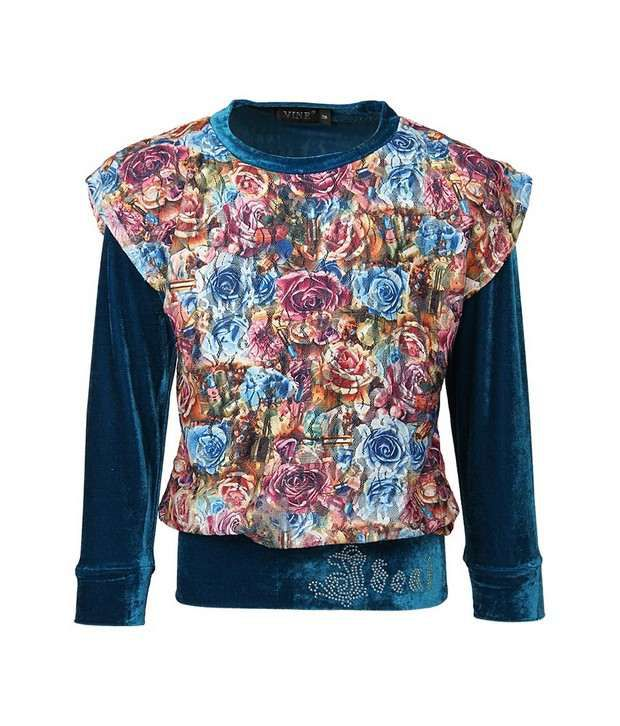 Vine Blue Sweatshirt For Girls