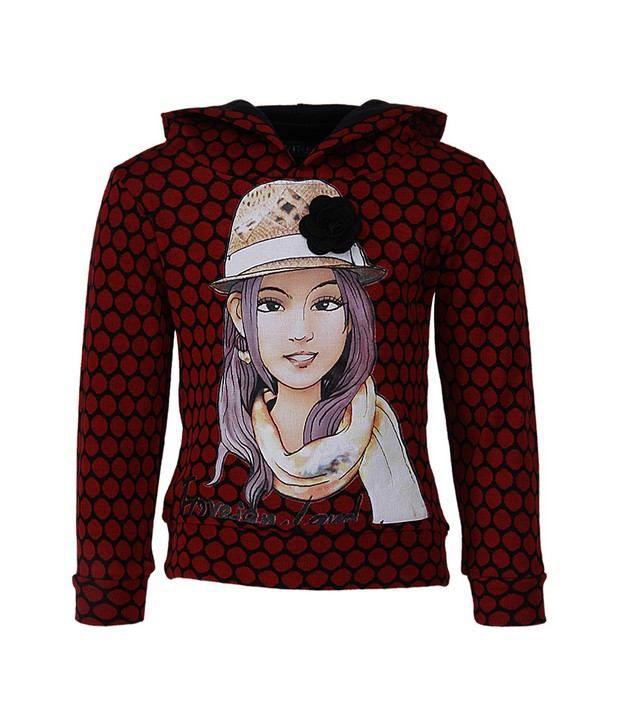 Vine Red Sweatshirt For Girls