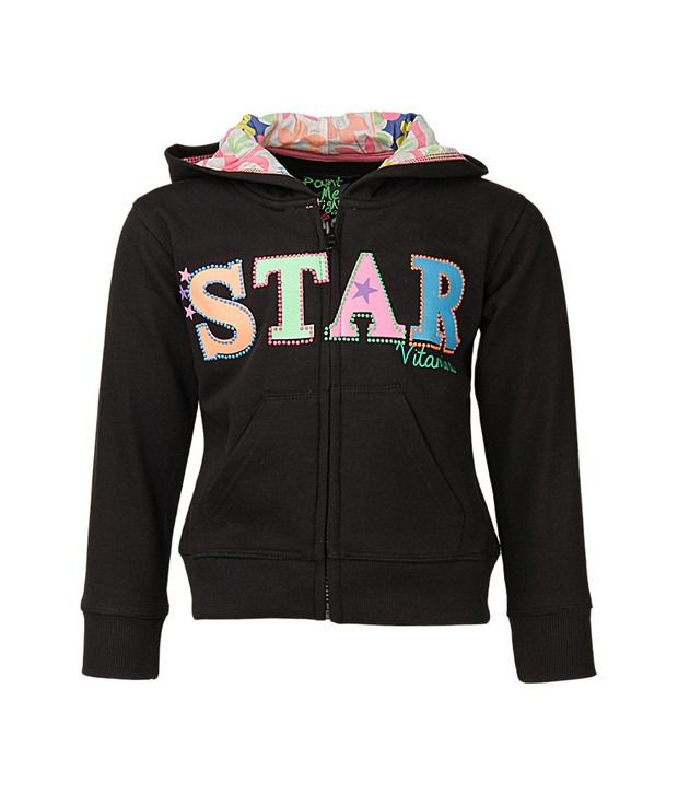 Vitamins Black Sweatshirt For Girls