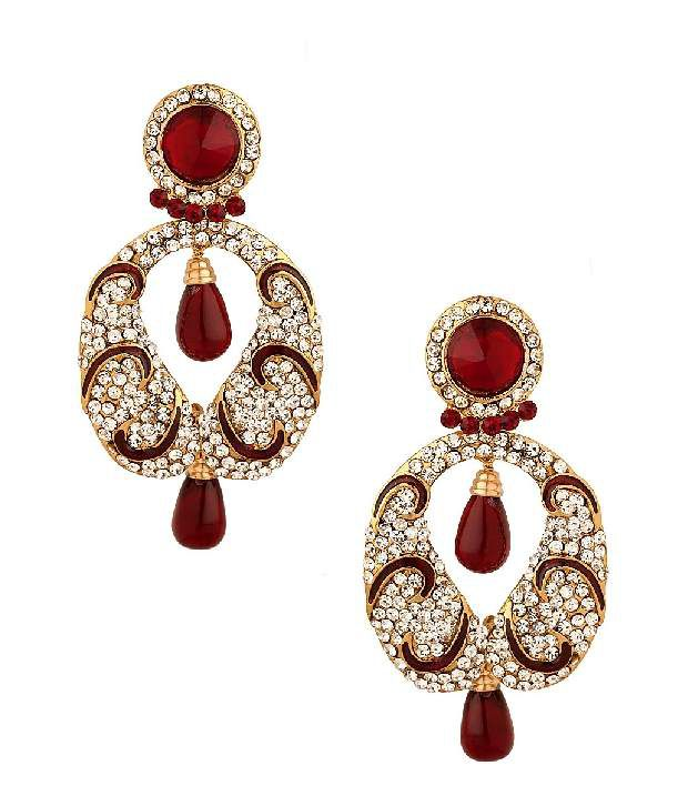 Voylla Earrings Decorated With Red Enamelling