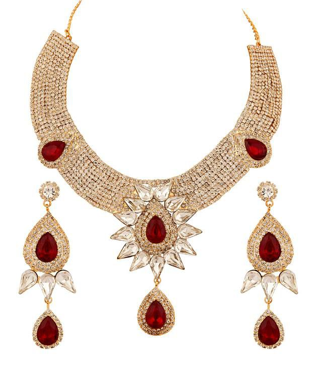 Voylla Gold Plated Choker Set Decorated with Cz, Faceted Green, Red Crystals