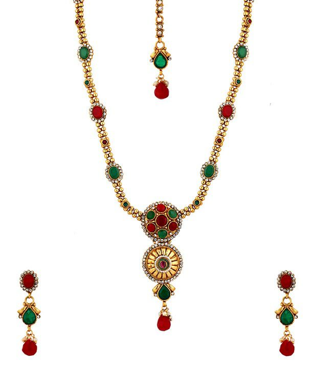 Voylla temple jewellery set featuring golden crystal studded round voylla temple jewellery set featuring golden crystal studded round pendants aloadofball Gallery