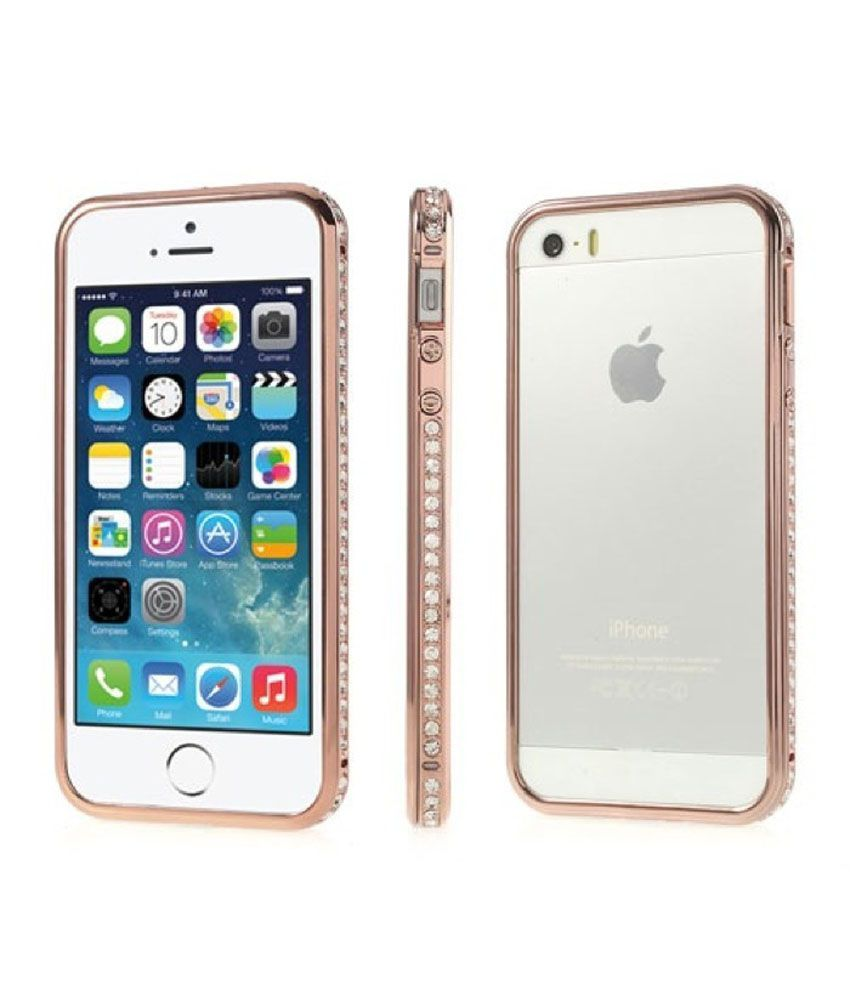 info for ecfb7 520b0 XS. Diamond Studded Side Bumper For iPhone 5 5S - Plain Back Covers ...