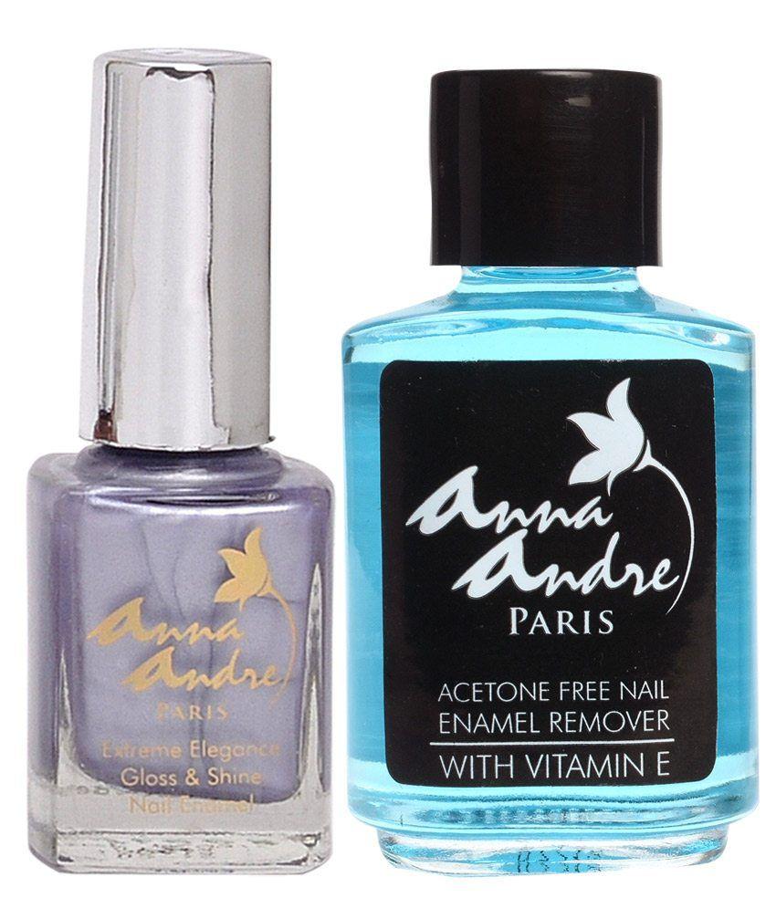 Anna Andre Paris Nail Polish Shade 80075 Lady Lilac + Acetone Free Nail Enamel Remover