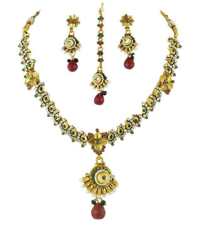 Golden Collections Antique Stone Necklace Set