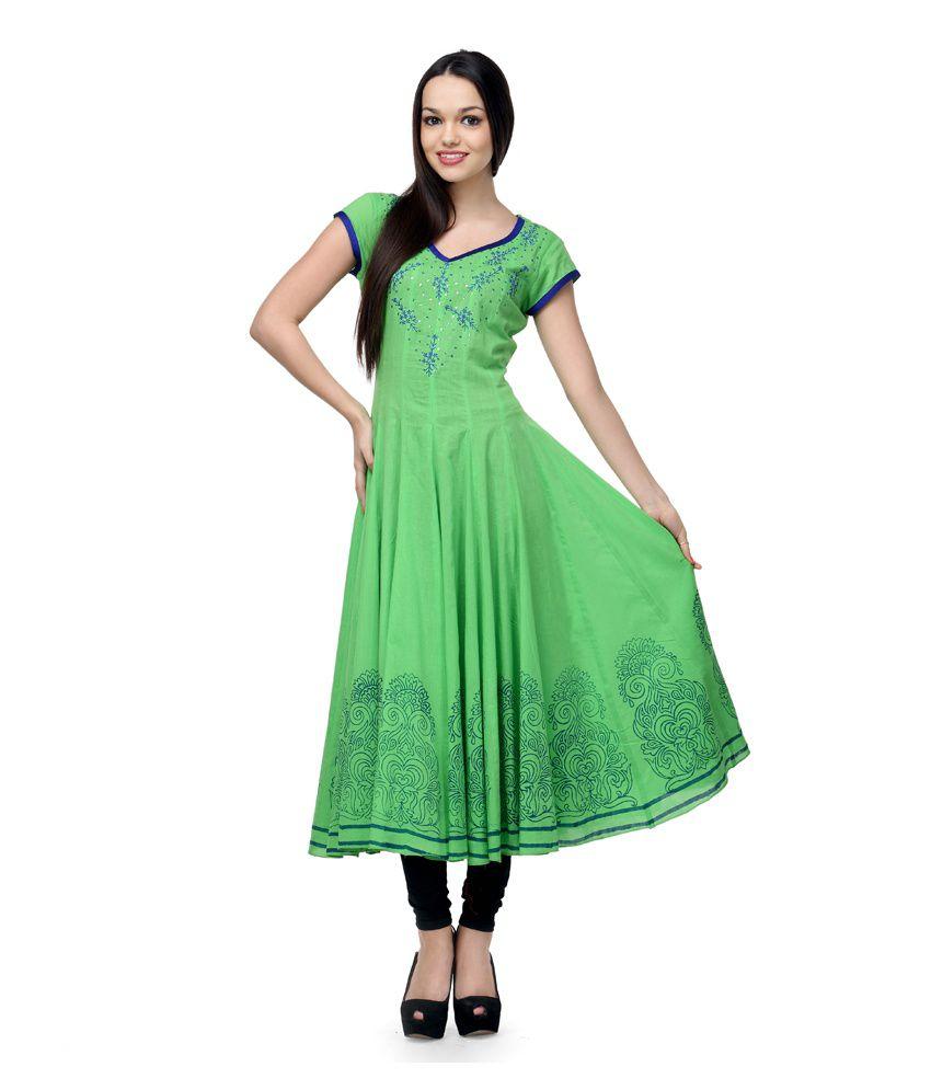 Shakumbhari Green Embroidered Cotton Half Long Kurti
