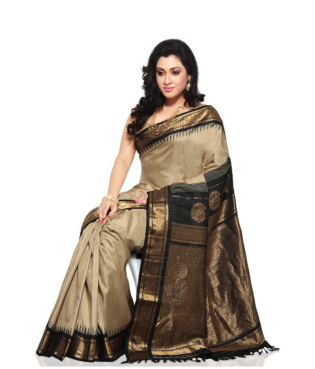 0f60d9a0fa Utsav Fashion Brown and Beige Gadwal Silk Saree - Buy Utsav Fashion Brown  and Beige Gadwal Silk Saree Online at Low Price - Snapdeal.com