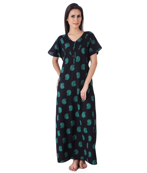7236574bed Buy Masha Black Cotton Nighty Online at Best Prices in India - Snapdeal