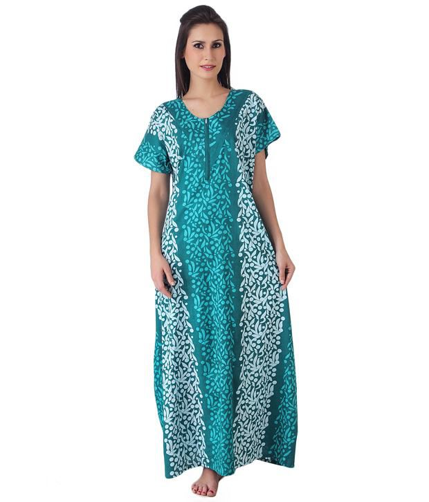 dd9d62ac16 Buy Masha Green Cotton Nighty Online at Best Prices in India - Snapdeal
