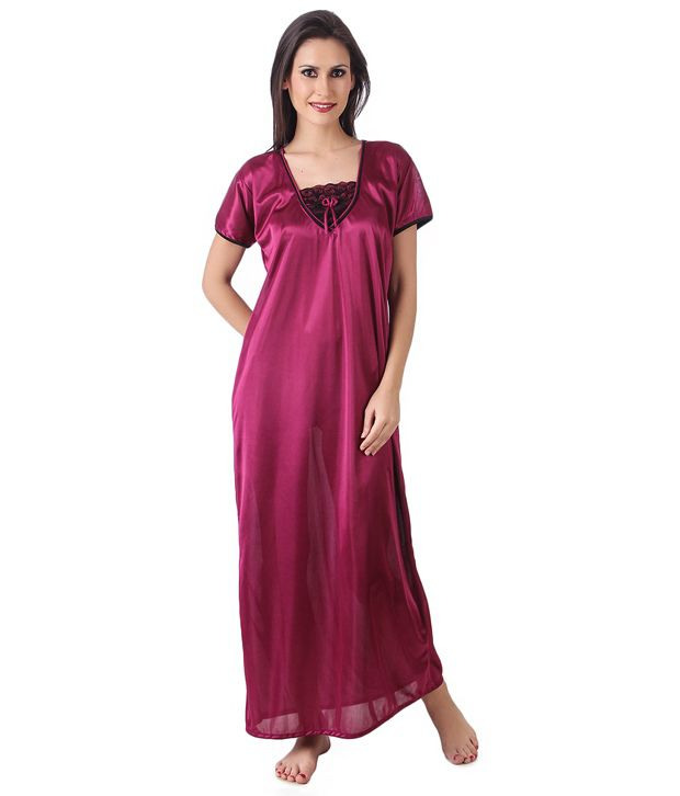 35565d1441 Buy Masha Purple Satin Nighty Online at Best Prices in India - Snapdeal