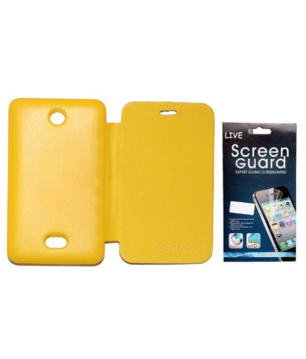 low priced 0992a 20f4b Edge Flip Cover + Screen Protector for Nokia Asha 501 - Yellow
