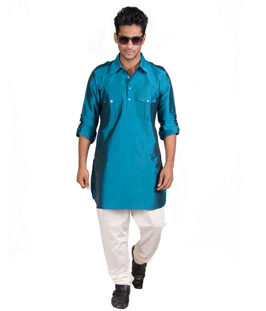 Vivyaan Turquoise Pathani Style short Kurta for Party Wear - Buy ...