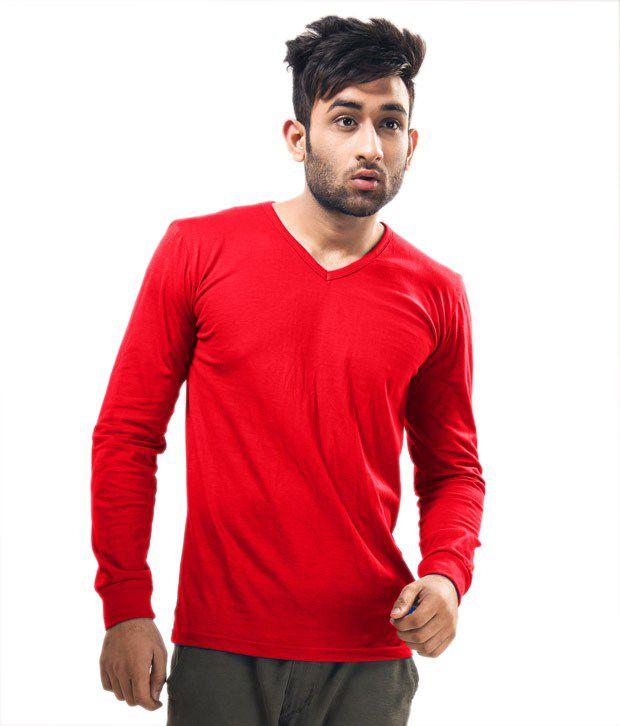 Unisopent Designs Red Full Cotton   V-Neck  T-Shirt