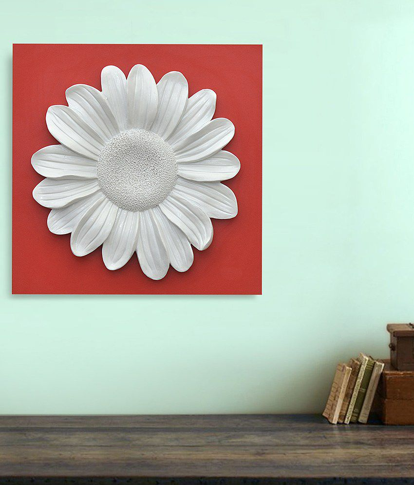 @Home Flower White and Orange Wood and Ceramic Paintings-Floral (1 Pc)