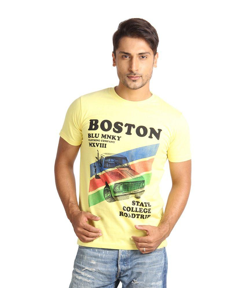 Blue Monkey Yellow Color Boston Printed Peach Tshirt