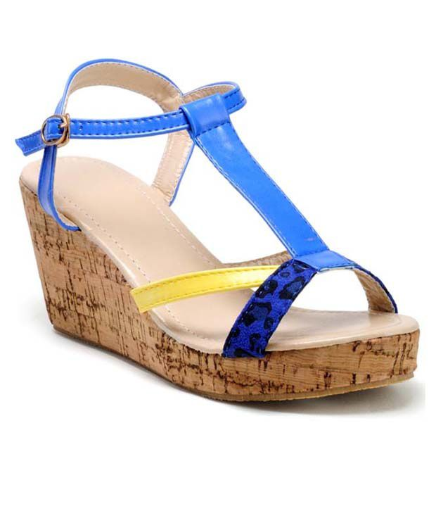 Nell Blue Wedges Sandals