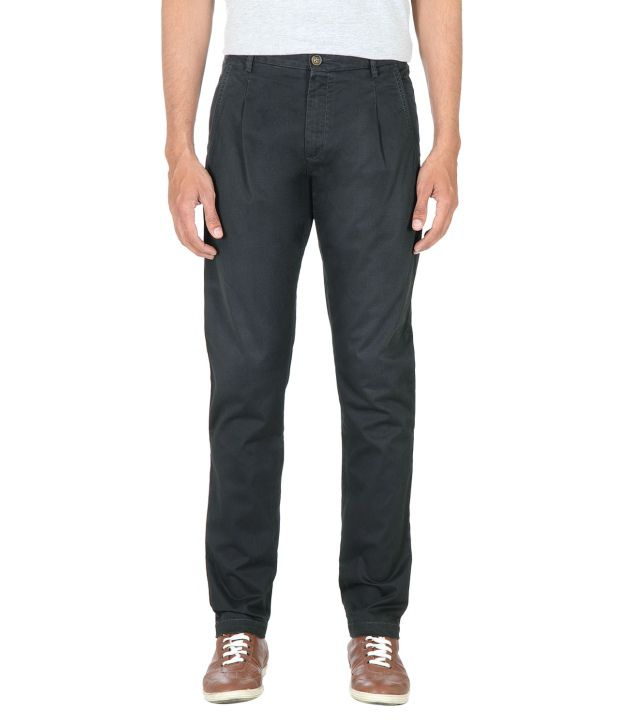 Peter England Gray Slim Casuals Pleated