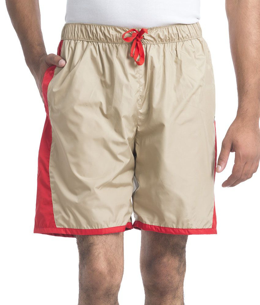 NU9 Beige Polyester Solids Shorts