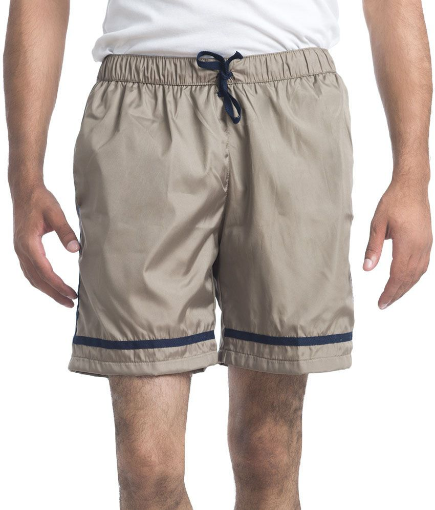 NU9 Brown Polyester Solids Shorts