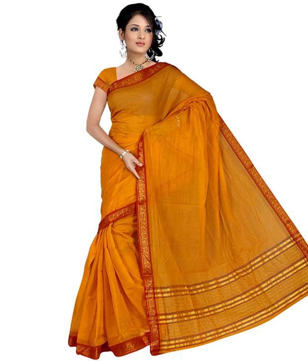 2220724b9a Pavecha's Yellow and Orange Cotton Saree - Buy Pavecha's Yellow and Orange Cotton  Saree Online at Low Price - Snapdeal.com