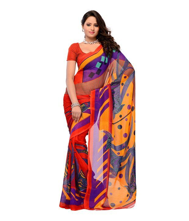 PetraFab Red Faux Georgette Saree