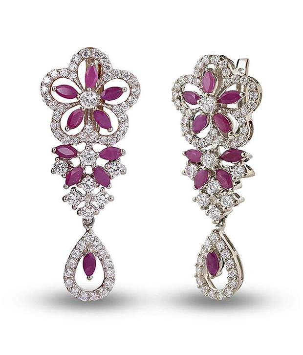 Shashvat Jewels 14kt Floral Pattern Marquise Gemstone Earrings