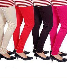 Kaasni's Collection Soften Free Size Cotton Leggings Set of 4