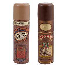 Lomani Men Body Spray (Cigar, El Paso) Pack of 2-Each 200 ml