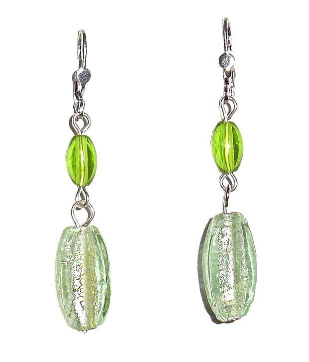 Beadworks Fashion Silver Foil Peri-dot Green Beaded Earrings
