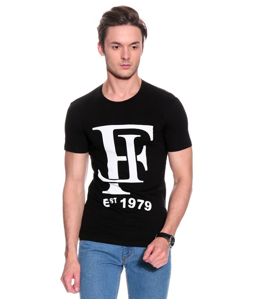 Franco Leone Black Half Cotton Round  T-Shirt