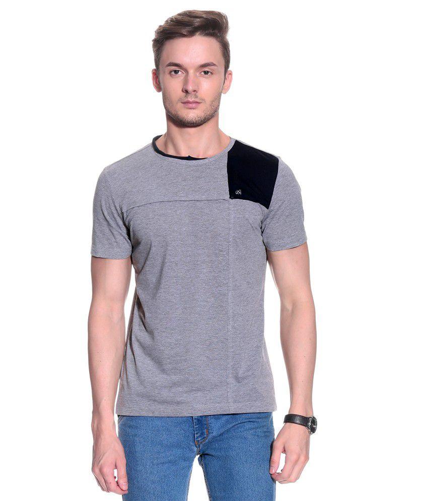 UNI STYLE IMAGE Gray Half Cotton Blend Round  T-Shirt