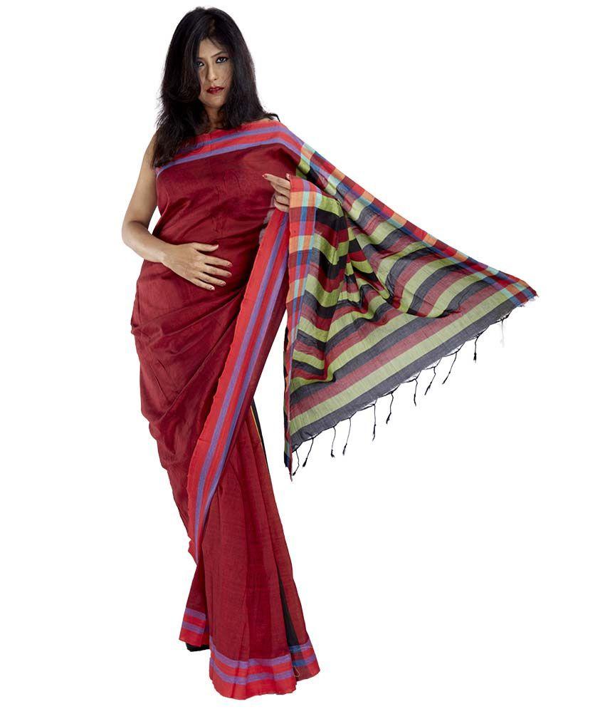 10der Maroon Bengal Tant Cotton Saree
