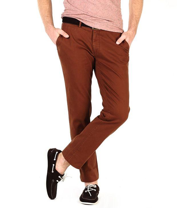 Basics Brown Slim Casuals Chinos