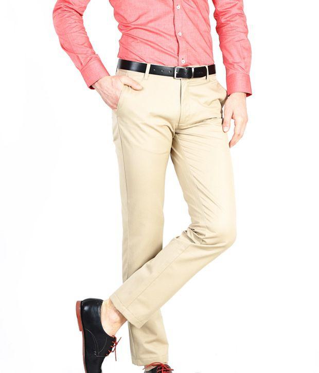 Basics Khaki Slim Semi Formals Flat