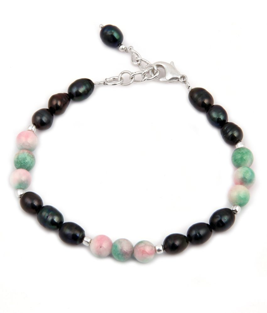 Pearlz Ocean Patterned Love Fresh Water Pearl & Quartzite Beads 7.5 Inches Bracelet