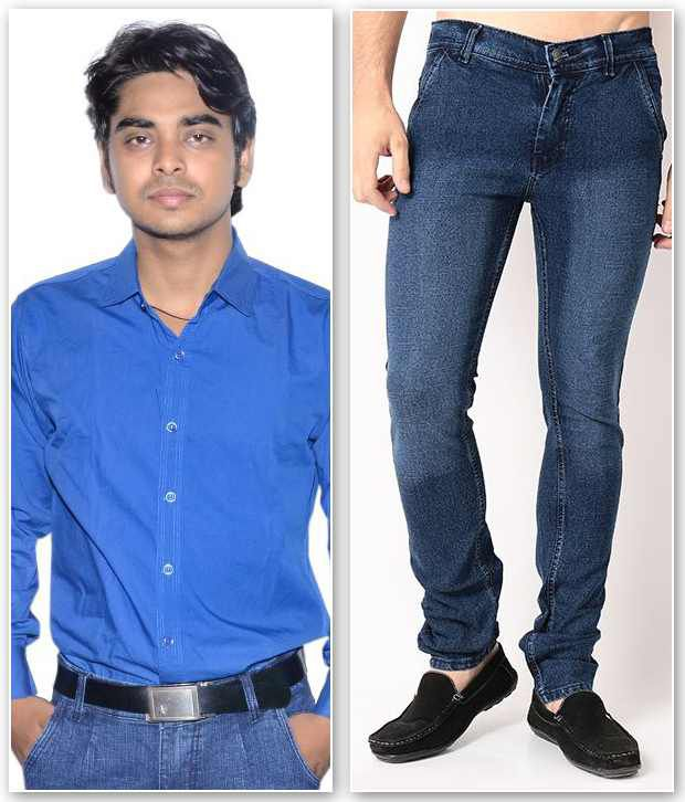 D.Coral Blue Cotton Jeans & Shirt