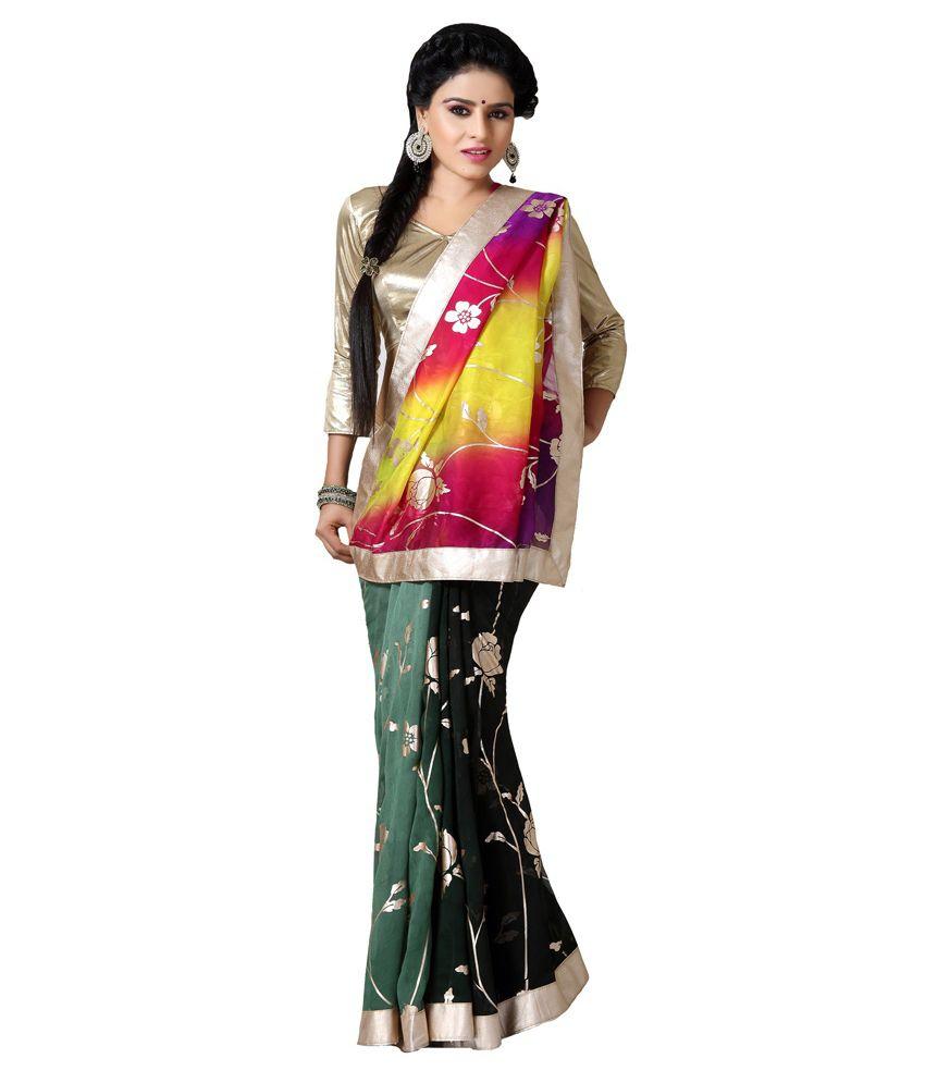 Inddus Multicoloured Georgette Saree
