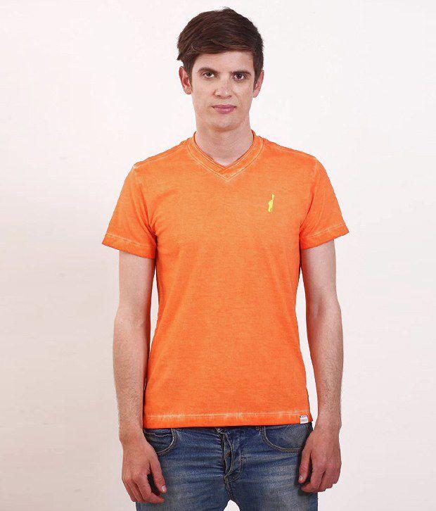 SMOKESTACK Orange Half Cotton V-Neck  T-Shirt