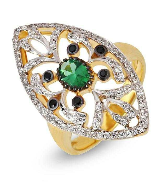 Shashvat Jewels 18kt Green Panna Leaf Ring