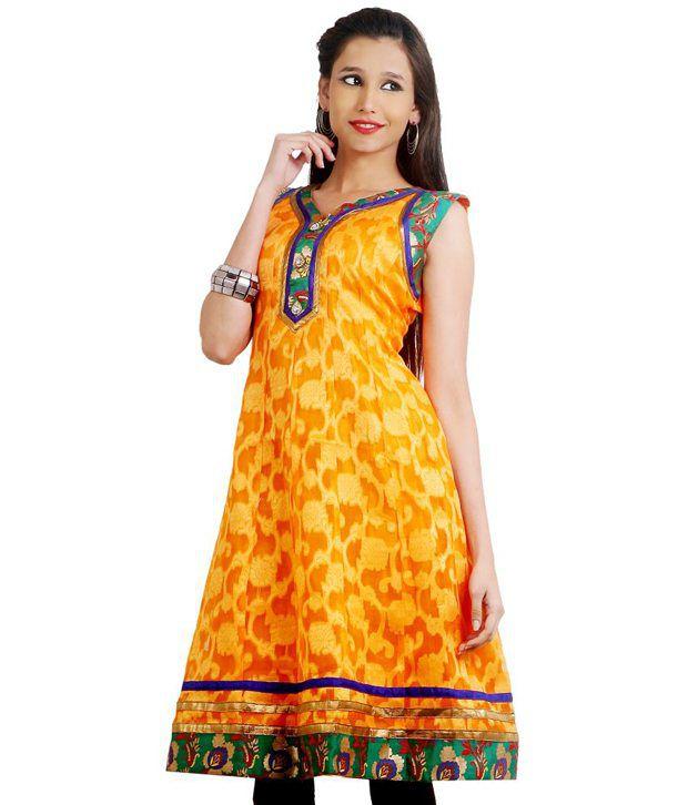Idha Yellow Printed Cotton Silk Medium  Kurti